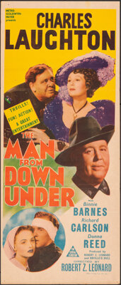 "The Man from Down Under (MGM, 1943). Folded, Fine+. Australian Daybill (12.75"" X 30""). Drama"