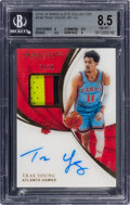 Basketball Cards:Singles (1980-Now), 2018 Immaculate Collection Trae Young (Jersey Autograph) #136 BGS NM-MT+ 8.5, Auto 9 - #'d 74/99....