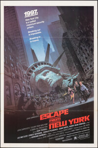 "Escape from New York (Avco Embassy, 1981). Folded, Fine/Very Fine. One Sheet (27"" X 40.75"") Barry Jackson Artw..."
