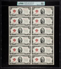 Small Size:Legal Tender Notes, Fr. 1507 $2 1928F Legal Tender Notes. Uncut Sheet of Twelve PMG About Uncirculated 53.. ...