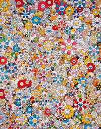 Takashi Murakami (b. 1962) Skulls & Flowers Multicolor, 2013 Offset lithograph on smooth wove paper<