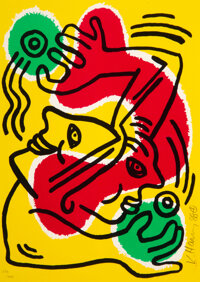 Keith Haring (1958-1990) Untitled (United Nations '88), 1988 Lithograph in colors on Arches paper