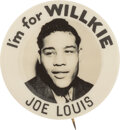 """Political:Pinback Buttons (1896-present), Wendell Willkie: Joe Louis Endorsement Button in Rare 1"""" Size. ..."""