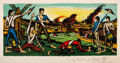 Prints & Multiples, Bernard Buffet (1928-1999). La bataille de Valmy, 1978. Lithograph in colors on Arches paper. 25-1/2 x 44-1/4 inches (64...