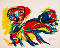 Karel Appel (1921-2006) Figure et Animal, 1962 Lithograph in colors on wove paper 18-3/8 x 23 inches (46.7 x 58.4 cm)
