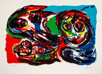 Karel Appel (1921-2006) Four Heads, 1966 Lithograph in colors on Rives BFK paper 22 x 30 inches (55.9 x 76.2 cm) (she