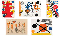 Alexander Calder (1898-1976) Group of Five Prints, mid-20th century Lithographs in colors on paper