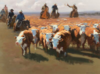 Xiang Zhang (American, b. 1954) The Cattle Drive Oil on canvas 30 x 40 inches (76.2 x 101.6 cm)