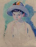 Paintings, William Sommer (American, 1867-1949). Boy with Straw Hat (Portrait of Ray), circa 1911. Oil on canvas laid on board. 23 ...