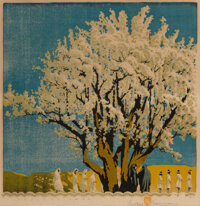 Gustave Baumann (American, 1881-1971) Processional, 1951 Woodblock print in colors on paper 13 x 12-3/4 inches (33.0