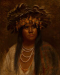 Paintings, Grace Carpenter Hudson (American, 1865-1937). The Wi-ly (Eba in Pomo headdress), 1912. Oil on canvas. 20 x 16 inches (50...