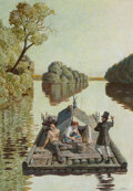Paintings, John Philip Falter (American, 1910-1982). The Riverboat, The Adventures of Tom Sawyer interior book illustration, 19...