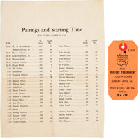 1941 The Masters Final Round Spectator's Badge with Pairings Sheet
