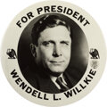 """Political:Pinback Buttons (1896-present), Wendell Willkie: Large 9"""" Button. ..."""