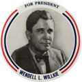 """Political:Pinback Buttons (1896-present), Wendell Willkie: A Rare 9"""" Button by Philadelphia Badge.? ..."""