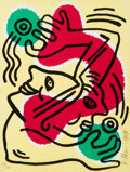 Prints & Multiples, Keith Haring (1958-1990). Untitled (United Nations '88), 1988. Lithograph in colors on Arches paper. 11-1/4 x 8-1/2 inch...
