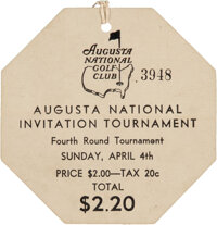 1937 The Masters Fourth Round Spectator's Badge