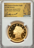 Modern Bullion Coins, 1849-Dated James B. Longacre Pattern Double Eagle, Jeff Garrett Signature, Ultra Cameo Gem Proof NGC. Private issue, struck ...