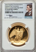 Modern Bullion Coins, 2017 High Relief, Saint-Gaudens One-Ounce Gold Commemorative, National Park Foundation, Winged Liberty, Mercanti Signature PR7...