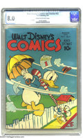 Golden Age (1938-1955):Funny Animal, Walt Disney's Comics and Stories #42 (Dell, 1944) CGC VF 8.0 Creamto off-white pages. This gloriously gloss-filled Donald D...