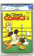 Golden Age (1938-1955):Funny Animal, Walt Disney's Comics and Stories #73 (Dell, 1946) CGC FN 6.0Off-white pages. Donald Duck appears. Walt Kelly cover art. Car...