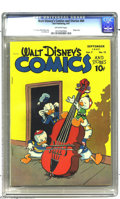 Golden Age (1938-1955):Funny Animal, Walt Disney's Comics and Stories #84 (Dell, 1947) CGC VF 8.0Off-white pages. Music lovers will dig this issue, man! It incl...