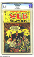 Golden Age (1938-1955):Horror, Web of Mystery #9 Bethlehem pedigree (Ace, 1952) CGC VF+ 8.5Off-white to white pages. Lou Cameron art. To date, only one co...