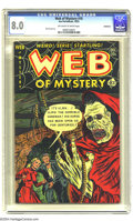 Golden Age (1938-1955):Horror, Web of Mystery #16 Bethlehem pedigree (Ace, 1952) CGC VF 8.0Off-white to white pages. Weird and eerie stories, and don't di...