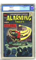 Silver Age (1956-1969):Mystery, Alarming Tales #1 Bethlehem pedigree (Harvey, 1957) CGC VF/NM 9.0Off-white to white pages. Jack Kirby's lively cover will p...