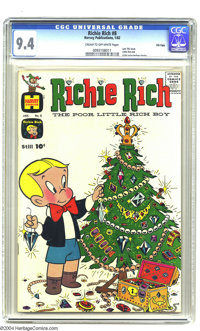 Richie Rich #8 File Copy (Harvey, 1962) CGC NM 9.4 Cream to off-white pages. Christmas cover. Last 10-cent issue. Little...