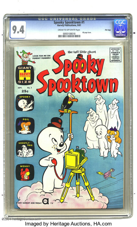 Spooky Spooktown #1 File Copy (Harvey, 1961) CGC NM 9.4 Cream to off-white pages. Casper and Spooky appear in this 68-page i...