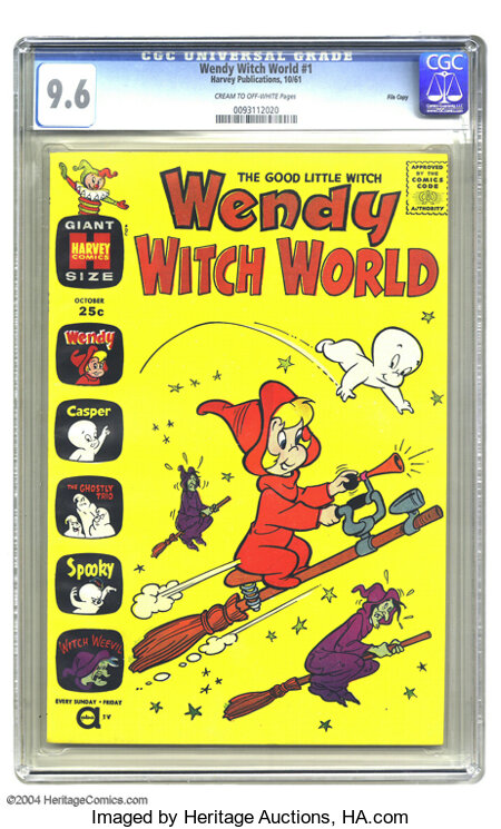 Wendy Witch World #1 File Copy (Harvey, 1961) CGC NM+ 9.6 Cream to off-white pages. CGC has certified only four copies of th...