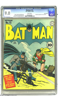 Batman #15 San Francisco pedigree (DC, 1943) CGC VF/NM 9.0 White pages. An early Batman in high grade is a spectacular f...