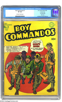 Boy Commandos #2 Crowley pedigree (DC, 1943) CGC VF 8.0 Off-white to white pages. The Boys toss Hitler out with the garb...