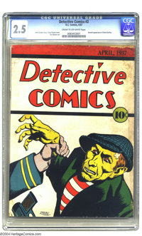 Detective Comics #2 (DC, 1937) CGC GD+ 2.5 Cream to off-white pages. This pre-Golden Age issue of Detective Comics featu...