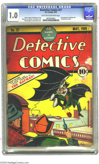 Detective Comics #27 (DC, 1939) CGC FR 1.0 Light tan to off-white pages. This milestone comic book remains one of the ho...