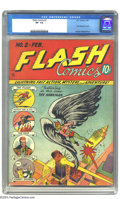 Golden Age (1938-1955):Superhero, Flash Comics #2 (DC, 1940) CGC VF- 7.5. A rule of thumb is that second issues are scarcer than the first issues and this boo...