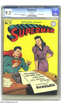 Superman #27 (DC, 1944) CGC NM- 9.2 White pages. Golden Age Superman covers vacillated from feats of derring-do to fligh...