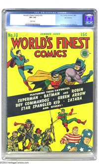 World's Finest Comics #10 San Francisco pedigree (DC, 1943) CGC VF+ 8.5 White pages. This whopping 76-pager doesn't skim...