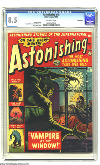 Astonishing #18 Bethlehem pedigree (Atlas, 1952) CGC VF+ 8.5 Off-white pages. Bill Everett cover. John Romita Sr. and To...
