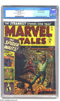 Golden Age (1938-1955):Horror, Marvel Tales #105 Palo Alto pedigree (Atlas, 1952) CGC VF 8.0Off-white pages. Look out for that giant Spider, man! One of R...