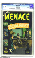 Golden Age (1938-1955):Horror, Menace #5 Bethlehem pedigree (Atlas, 1953) CGC VF- 7.5 Off-whitepages. Origin and first appearance of the Zombie. Bill Ever...