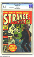 Golden Age (1938-1955):Horror, Strange Tales #13 Bethlehem pedigree (Atlas, 1952) CGC VF+ 8.5White pages. A murderer finds his intended victim is already ...