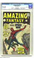 Silver Age (1956-1969):Superhero, Amazing Fantasy #15 U.K. edition (Marvel, 1962) CGC VG/FN 5.0Off-white pages. We're happy to report that British children w...