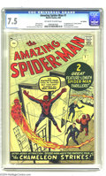 Silver Age (1956-1969):Superhero, The Amazing Spider-Man #1 U.K. edition (Marvel, 1963) CGC VF- 7.5Off-white to white pages. Though Spider-Man plied his crim...