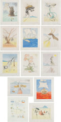 Prints & Multiples, Salvador Dali (1904-1989). The Twelve Tribes of Israel, 1972. Thirteen etchings in colors on Rives BFK paper. 19-1/2 x 1... (Total: 13 Items)