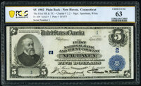 New Haven, CT - $5 1902 Plain Back Fr. 609 The First National Bank & Trust Company Ch. # 2 PCGS Banknot