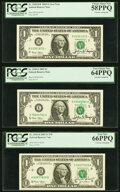 Small Size:Federal Reserve Notes, John W. Snow Courtesy Autographed Fr. 1929-B*; E $1 2003 Federal Reserve Notes. PCGS Graded Choice About New 58PPQ; Very Choic... (Total: 3 notes)