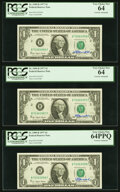 Small Size:Federal Reserve Notes, W. M. Blumenthal Courtesy Autographed Fr. 1909-B $1 1977 Federal Reserve Notes. PCGS Very Choice New 64PPQ, Very Choice New 64... (Total: 3 notes)