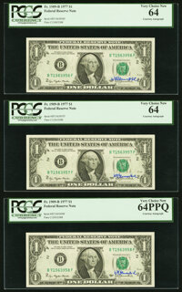 W. M. Blumenthal Courtesy Autographed Fr. 1909-B $1 1977 Federal Reserve Notes. PCGS Very Choice New 64PPQ, Very Choice...